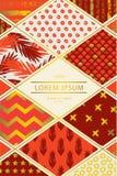 Kleurrijke dekking in lapwerkstijl in rode schaduwen met gouden elementen stock illustratie