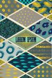 Kleurrijke dekking in lapwerkstijl in turkooise schaduwen met gouden elementen vector illustratie
