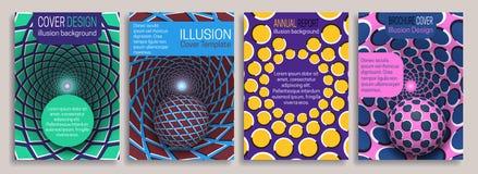 Kleurrijke dekkingsmalplaatjes met de elementen van het optische illusieontwerp Boekje, brochure, jaarverslag, affiche dynamisch  royalty-vrije illustratie