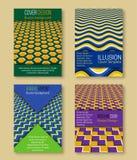 Kleurrijke dekkingsmalplaatjes met optische illusieachtergronden Boekje, brochure, jaarverslag, affiche hypnotic ontwerp royalty-vrije illustratie