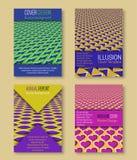 Kleurrijke dekkingsmalplaatjes met optische illusieachtergronden Boekje, brochure, jaarverslag, affiche hypnotic ontwerp stock illustratie