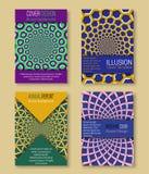 Kleurrijke dekkingsmalplaatjes met optische illusieachtergronden Boekje, brochure, jaarverslag, afficheontwerp met hypnotic effec stock illustratie