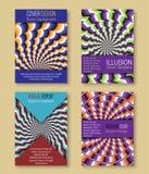 Kleurrijke dekkingsmalplaatjes met optische illusieachtergronden Boekje, brochure, jaarverslag, afficheontwerp met hypnotic effec royalty-vrije illustratie