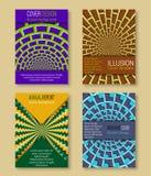 Kleurrijke dekkingsmalplaatjes met optische illusieachtergronden Boekje, brochure, jaarverslag, afficheontwerp met hypnotic effec vector illustratie