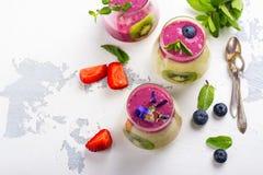 Kleurrijke detox gelaagd smoothie met natuurlijke eetbare bloemen, bessen en munt stock afbeelding