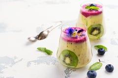 Kleurrijke detox gelaagd smoothie met natuurlijke eetbare bloemen, bessen en munt royalty-vrije stock foto's