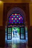 Kleurrijke deur bij het paleis van Bahia, Marrakech Royalty-vrije Stock Foto