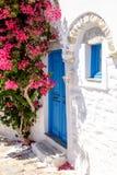 Kleurrijke deuren en bloemen in witte mediterrane straat, Amorgo Stock Foto