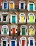 Kleurrijke deurencollage Stock Afbeeldingen
