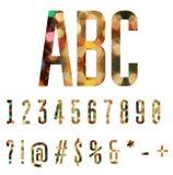 Kleurrijke die aantallen en symbolen van abstracte geometrische vormen worden gemaakt Stock Afbeelding