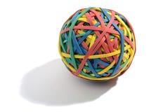 Kleurrijke die bal uit elastiekjes wordt samengesteld Stock Afbeelding