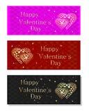Kleurrijke die banners voor Valentijnskaartendag worden geplaatst Stock Afbeeldingen