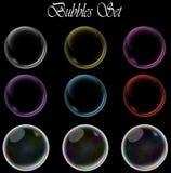 Kleurrijke die bellen op geïsoleerde zwarte achtergrond worden geplaatst vector illustratie