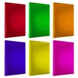 Kleurrijke die boekendekking op wit wordt geïsoleerd Stock Afbeeldingen