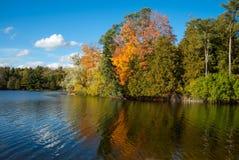 Kleurrijke die bomen in kalm meer worden weerspiegeld royalty-vrije stock foto