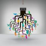 Kleurrijke die Boom door een Bindmiddelenklem wordt gehangen royalty-vrije illustratie
