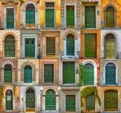 Kleurrijke die collage van groene deuren van Rome wordt gemaakt Stock Fotografie