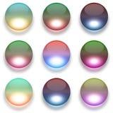 Kleurrijke die glasbollen op wit worden geïsoleerd Royalty-vrije Stock Foto's