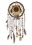 Kleurrijke die hand dreamcatcher met veren wordt getrokken stock illustratie