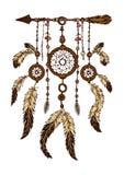 Kleurrijke die hand dreamcatcher met veren wordt getrokken royalty-vrije illustratie