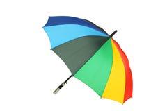 Kleurrijke die paraplu op witte achtergrond wordt geïsoleerd Royalty-vrije Stock Foto's
