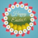 Kleurrijke die prentbriefkaar voor Pasen met kroon van tulpen en podium wordt gemaakt Royalty-vrije Stock Afbeeldingen