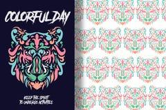 Kleurrijke die tijgerhand met editable patronen wordt getrokken stock illustratie