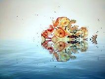 Kleurrijke die vissen van gesneden kleurpotloden en watereffect worden gemaakt, brandkast de aard Royalty-vrije Stock Foto