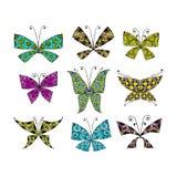 Kleurrijke die vlinder, voor uw ontwerp wordt geplaatst Stock Foto's