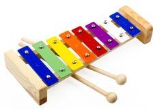 Kleurrijke die Xylofoon op Wit wordt geïsoleerd Royalty-vrije Stock Afbeelding