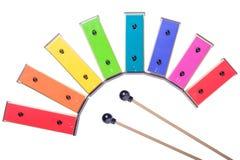 Kleurrijke die xylofoon op witte achtergrond wordt geïsoleerd Royalty-vrije Stock Foto