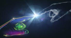 Kleurrijke digitale hand en het veelhoekige richten Royalty-vrije Stock Afbeelding