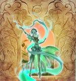 Kleurrijke digitale illustratie van een elegant elfmeisje die bos magische aard perfoming Royalty-vrije Stock Foto
