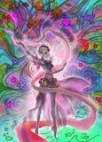Kleurrijke digitale illustratie van een elegant elfmeisje die bos magische aard perfoming Royalty-vrije Stock Afbeelding