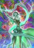 Kleurrijke digitale illustratie van een elegant elfmeisje die bos magische aard perfoming Stock Foto