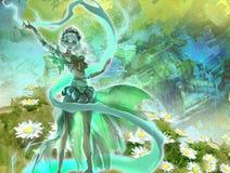 Kleurrijke digitale illustratie van een elegant elfmeisje die bos magische aard perfoming Royalty-vrije Stock Afbeeldingen