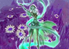 Kleurrijke digitale illustratie van een elegant elfmeisje die bos magische aard perfoming Stock Afbeelding