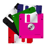 5 kleurrijke diskette Stock Foto's