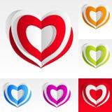 Kleurrijke document harten Stock Afbeeldingen