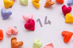 Kleurrijke document harten in hoogste mening Royalty-vrije Stock Afbeeldingen
