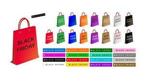 Kleurrijke Document het Winkelen Zakken voor Speciaal Black Friday Royalty-vrije Stock Foto