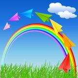 Kleurrijke document vliegtuig en regenboog Stock Foto's
