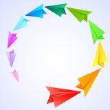 Kleurrijke document vliegtuigen stock illustratie