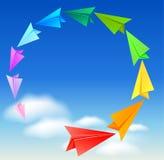 Kleurrijke document vliegtuigen Stock Fotografie