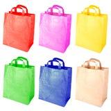 Kleurrijke document zakken die op een wit worden geïsoleerd? Royalty-vrije Stock Afbeelding