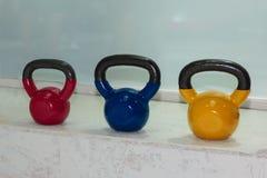 Kleurrijke Domoren in Gymnastiek: Het Materiaal van de gewichtsgeschiktheid Royalty-vrije Stock Afbeelding