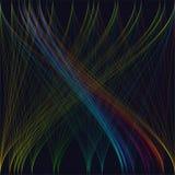 Kleurrijke donkere achtergrond met abstracte golven, lijnen Stock Foto's