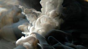 Kleurrijke donkere grijze en witte verfdalingen die zich in water mengen stock video