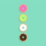 Kleurrijke donuts met schaduw Stock Foto's