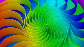 Kleurrijke draai gebogen vorm Cirkel op 3d regenboogachtergrond, royalty-vrije illustratie